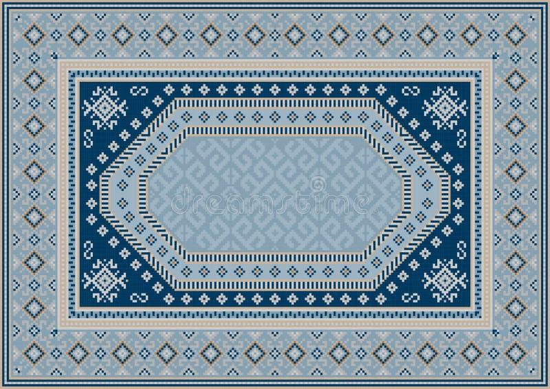 Tapete oriental luxuoso em tons azulados com testes padrões da cor dos azuis marinhos, a bege e a amarela ilustração do vetor