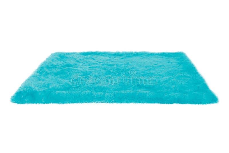Tapete peludo azul Isolado fotografia de stock