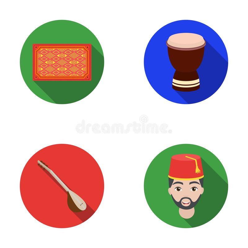 Tapete turco, saz, cilindro, homens turcos Os ícones ajustados da coleção de Turquia no estilo liso vector a Web conservada em es ilustração stock