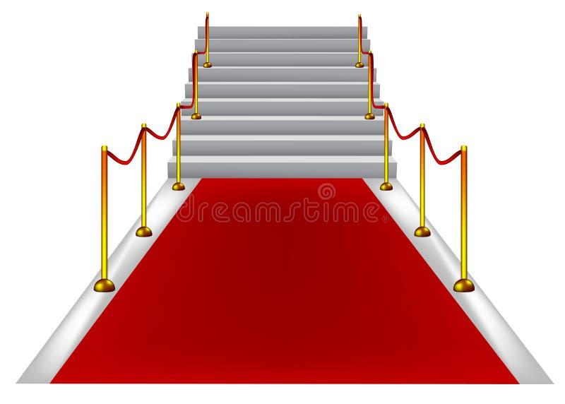 Tapete vermelho com escadas foto de stock
