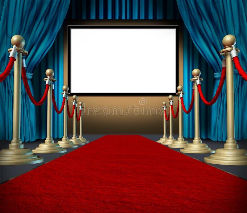 Tapete vermelho das cortinas do espaço em branco do estágio do cinema ilustração royalty free