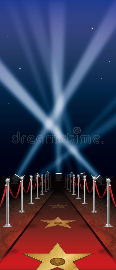 Tapete vermelho de Hollywood ilustração royalty free