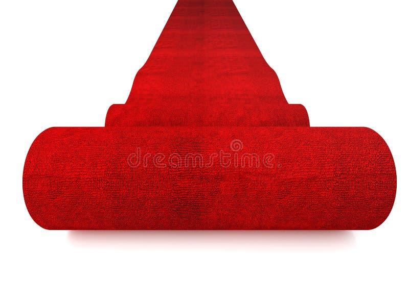 Tapete vermelho de rolamento fotografia de stock