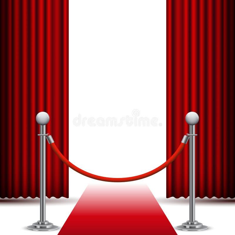 Tapete vermelho e cerca antes da cortina ilustração do vetor