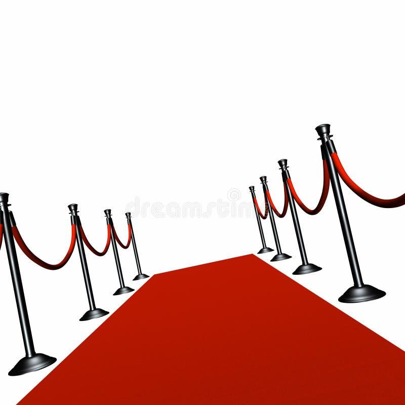 Tapete vermelho e Stanchion preto ilustração royalty free