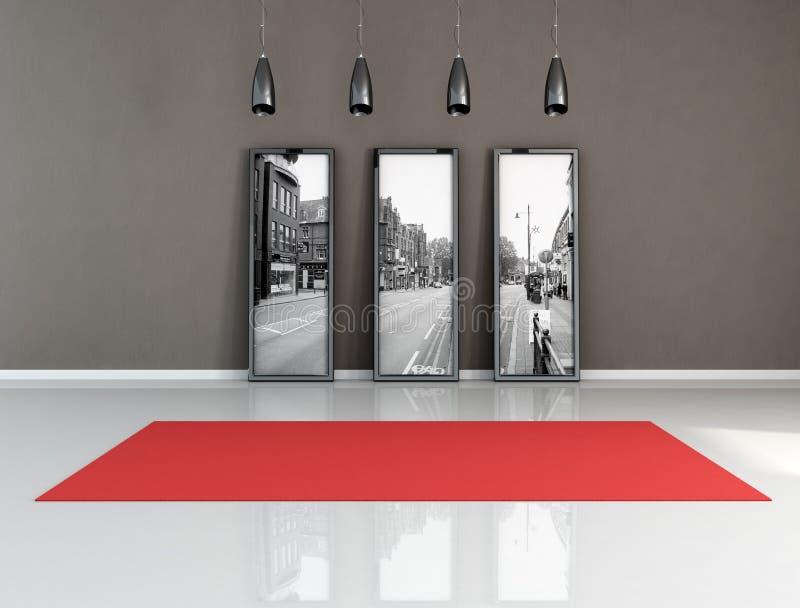 Tapete vermelho em um quarto preto e branco