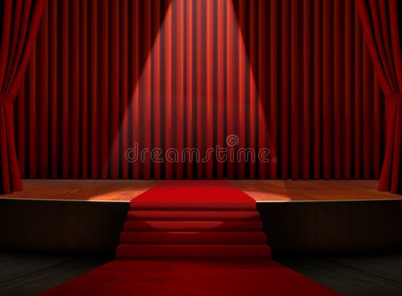 Tapete vermelho na fase com projector ilustração royalty free