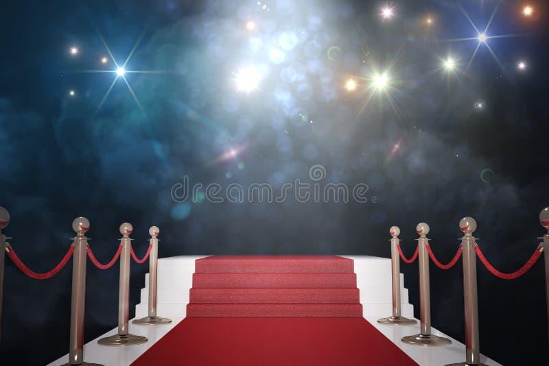 Tapete vermelho para o VIP Luzes instantâneas no fundo 3D rendeu a ilustração ilustração stock