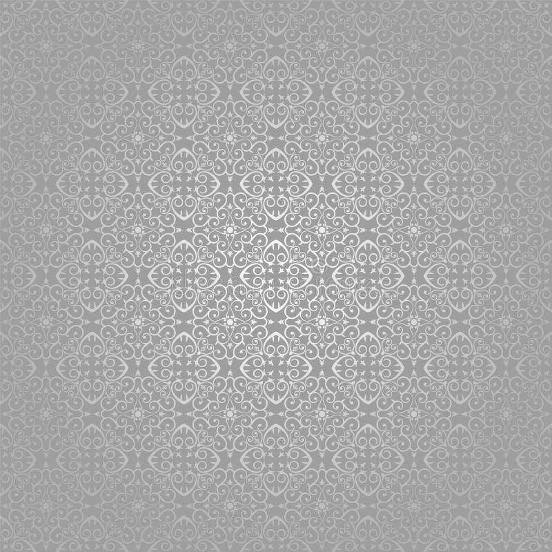 Tapeten-Batik-Strudel-Silber traditionell stock abbildung
