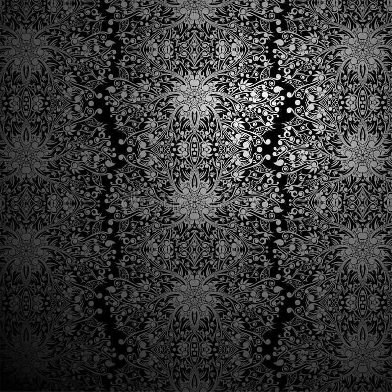 Tapeten-Schwarzes und Silber-Strudel-Zusammenfassungs-Batik lizenzfreie stockfotografie