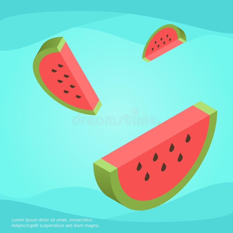 Tapetenentwurf der Wassermelone 3d stockfotografie