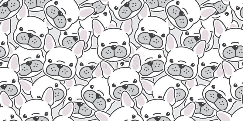 Tapetenhintergrund-Karikaturgekritzel des Vektors der französischen Bulldogge des Hundenahtloser Musters Schal lokalisiertes lizenzfreie abbildung