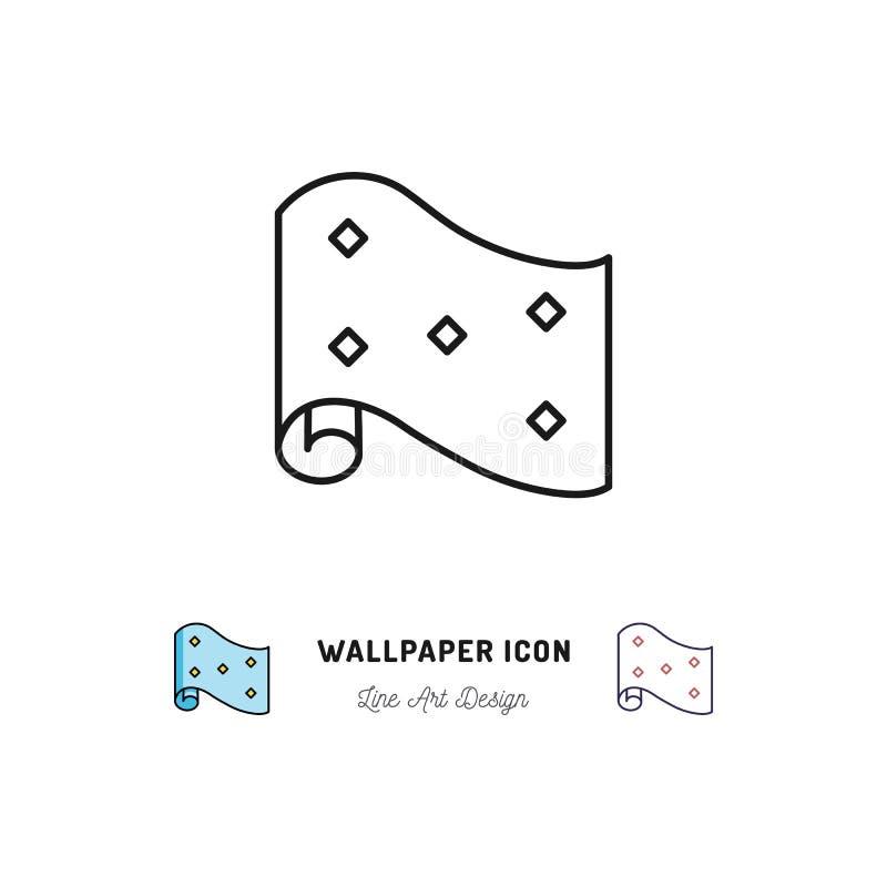 Tapetenrollenikone Innenarchitektur und dünne Linie Kunstsymbole der Hauptreparatur lizenzfreie abbildung