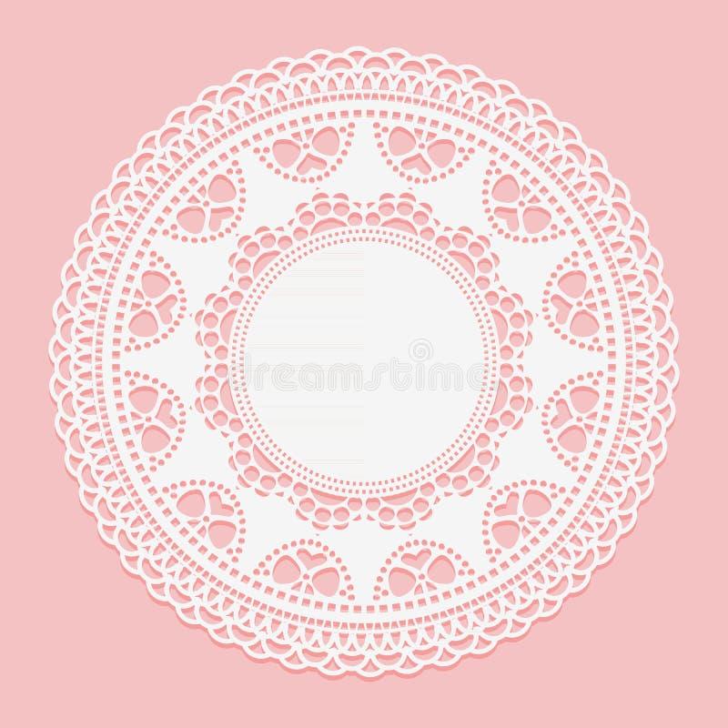 Tapetito blanco a cielo abierto Ate el elemento blanco del círculo del marco en fondo rosado libre illustration