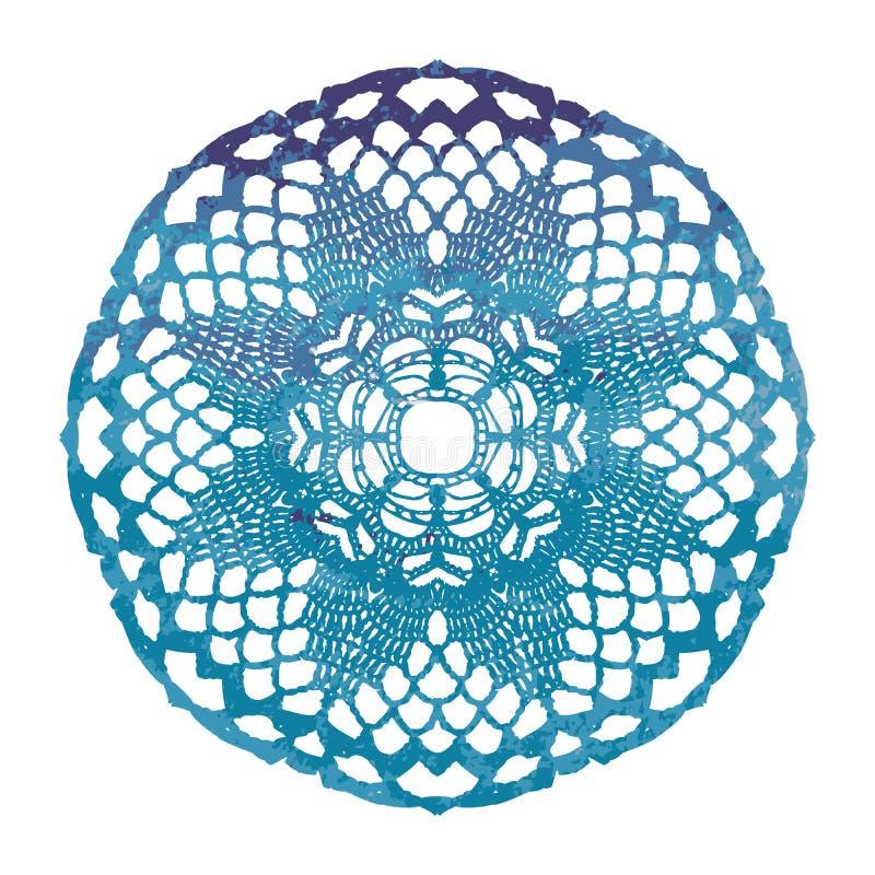 Tapetito de encaje elegante de la acuarela Mandala del ganchillo libre illustration