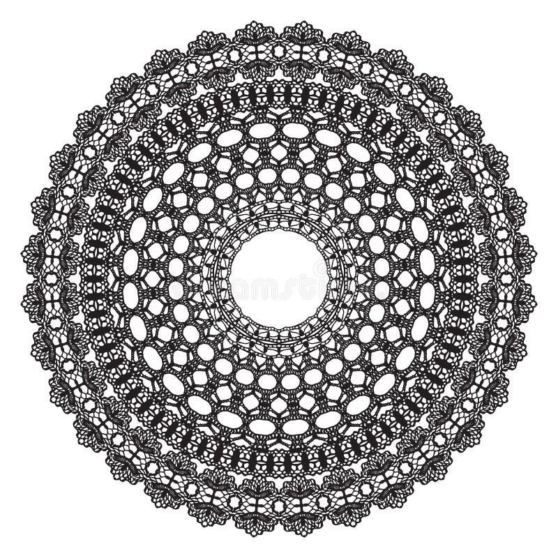 Tapetito negro del ganchillo stock de ilustración