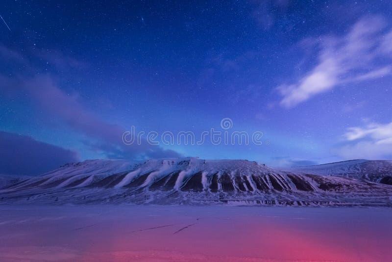 Tapetowa Norway krajobrazu natura góry Spitsbergen Longyearbyen Svalbard budynku śnieżny miasto na biegunowym daynight dowcipie fotografia stock
