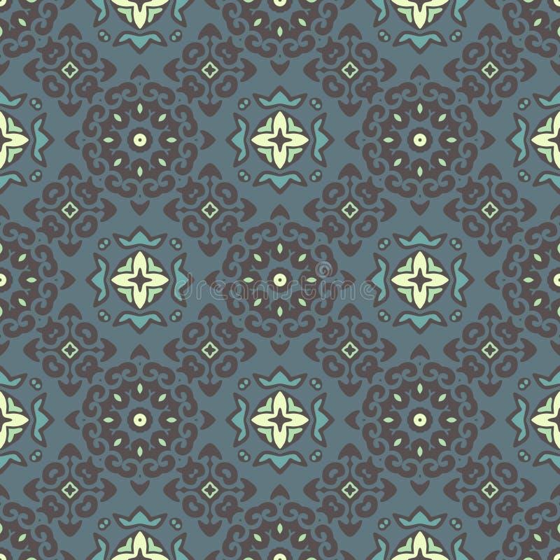 Tapetowy barok, adamaszek tło bezszwowy wektora Graficzny nowożytny wzór ilustracja wektor