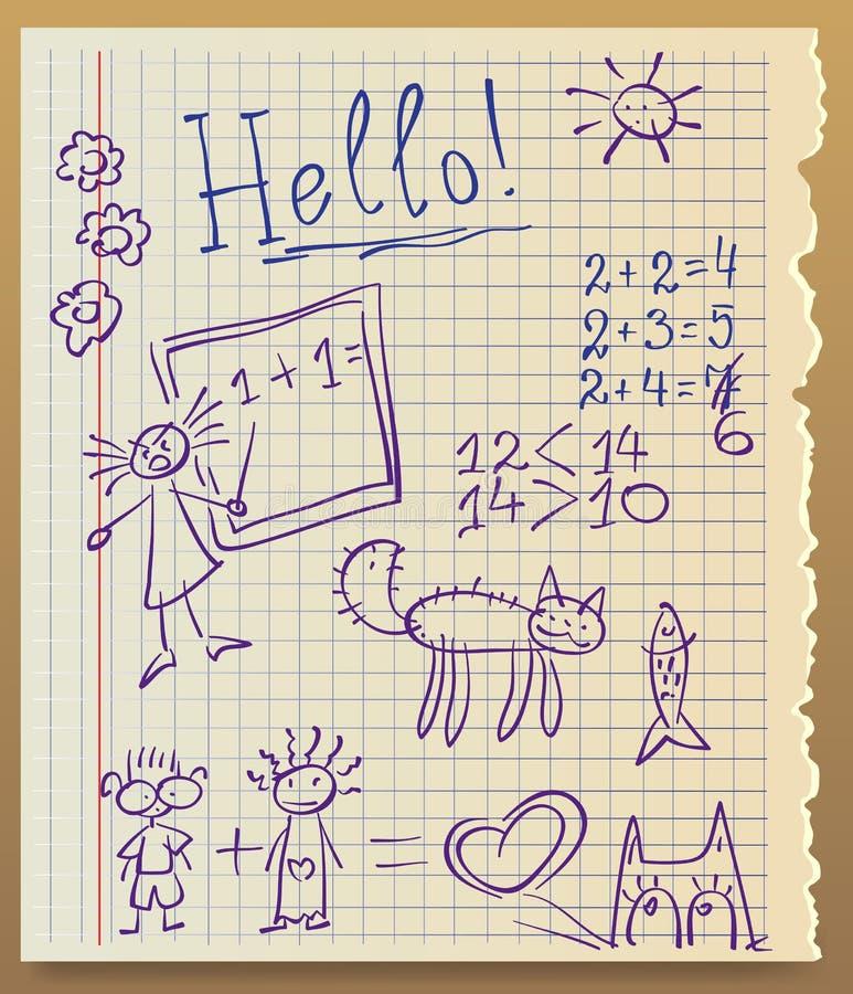 Tapetuje od copybook, zarysowywającego dzieciak ilustracja wektor