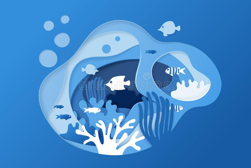 Tapetuje rżniętego podwodnego oceanu tło z rafą koralową, gulgocze i macha, ryby, gałęzatka, Papier rafy koralowej rżnięty sztand royalty ilustracja