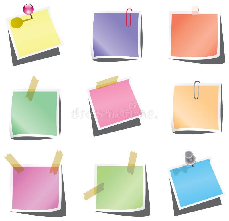 Tapezieren Sie Anmerkungen mit Stoßstift und -papierklammer stock abbildung