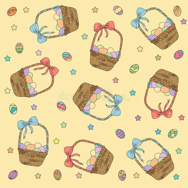 Tapezieren Sie auf dem Thema von Ostern-Korb mit Eiern lizenzfreie abbildung