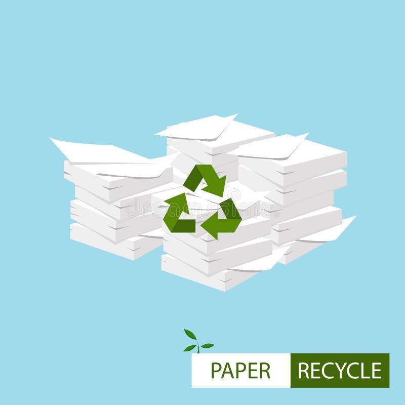Tapezieren Sie die Wiederverwertung des Konzeptes Große Stapel Papiere mit bereiten Zeichen auf lizenzfreie abbildung
