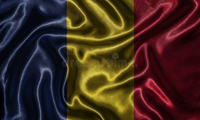 Tapezieren Sie durch Tschad-Flagge und wellenartig bewegende Flagge durch Gewebe stockfotos