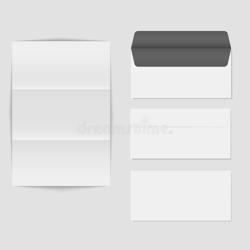 Tapezieren Sie gefalteten Buchstaben und löschen Sie die Umschlagschablone, die auf weißem Hintergrund lokalisiert wird Realistis stock abbildung