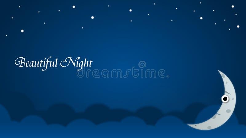 Tapezieren Sie Hintergrund-Nacht über Himmel mit dem alleinmond und den strars stock abbildung