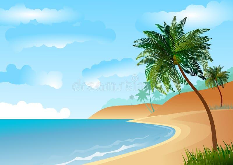Tapezieren Sie mit Seelandschaft, mit Strand- und Palmen vektor abbildung
