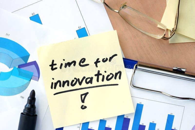 Tapezieren Sie mit Wortzeit für Innovation und Diagramme stockbild
