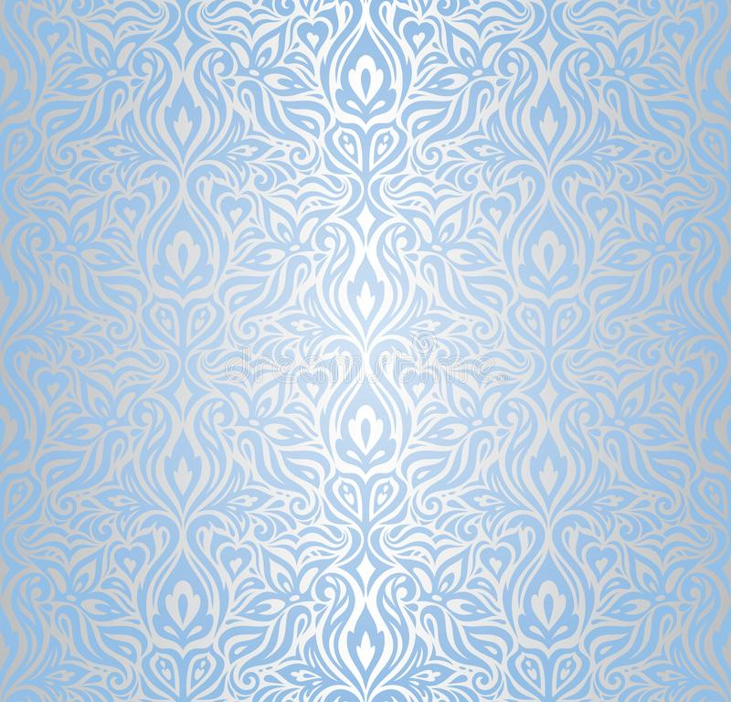 Tapezieren Sie modisches Muster der blauen und silbernen Blumenhintergrunddesign-Mode des vektors nahtlosen dekorativen lizenzfreie abbildung