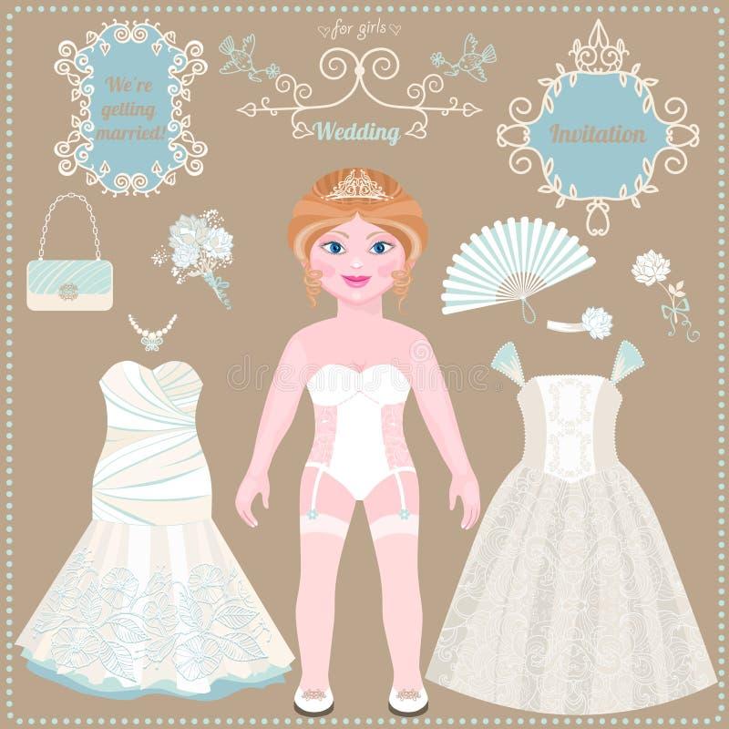 Tapezieren Sie Puppe Hochzeitskleider und -zubehör stock abbildung