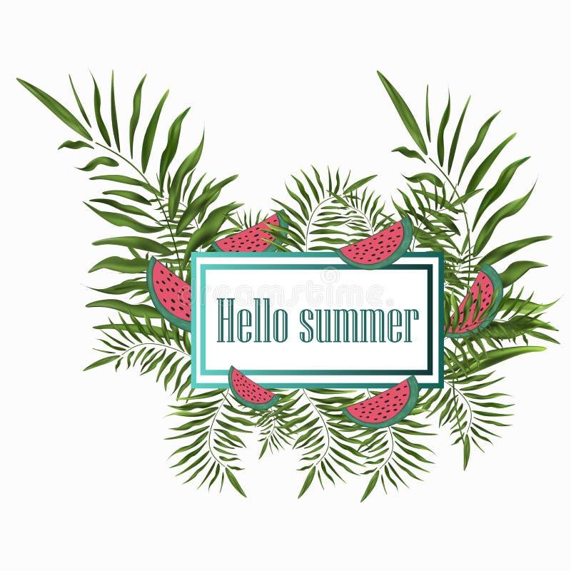 Tapezieren Sie schönen Rahmen der Vektorfahne mit Palmengrünniederlassungen und Scheiben der Wassermelone lizenzfreie abbildung