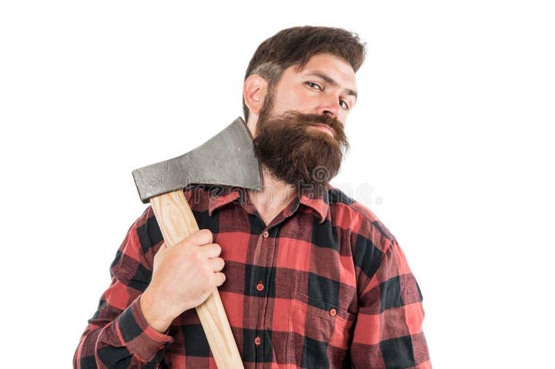 tapfer genug Brutaler Lumberjack Schneiden von Holz Scharnierschaufel Brutalität und Männlichkeit Bartentaube Lumberjack lizenzfreie stockbilder
