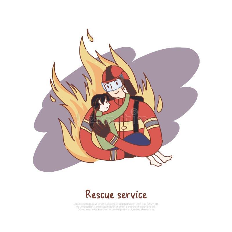 Tapferer Feuerwehrmann, der wenig Mädchen, gefährlichen Beruf, Retter mit Kind, Notrettungsdienstfahne hält vektor abbildung