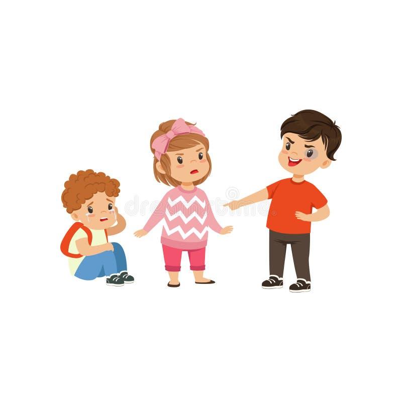 Tapferes Mädchen, das versucht, einen Jungen zu stoppen, dem einschüchternder kleiner Junge Illustration auf einem weißen Hinterg lizenzfreie abbildung