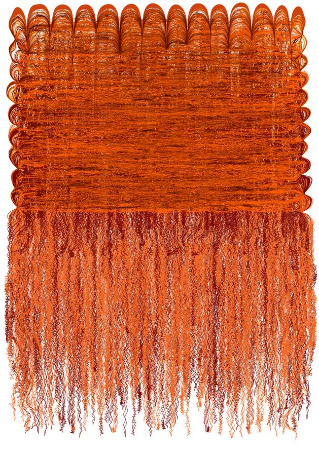 Tapicería decorativa con el modelo ondulado rayado del grunge y franja mullida larga en la naranja, colores marrones stock de ilustración