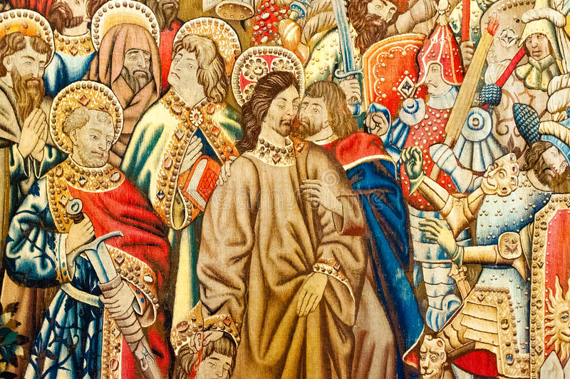 Tapicería del proyecto del ` s de Raphael (Cappella Sistina) foto de archivo libre de regalías