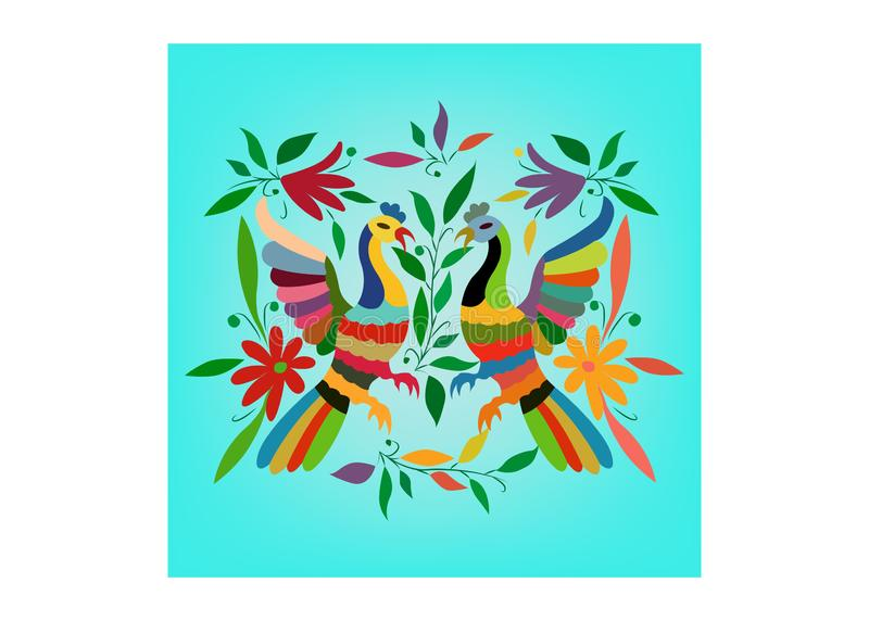 Tapicería mexicana étnica con el bordado floral y los animales de la selva del pavo real hechos a mano Decoraciones populares de  libre illustration
