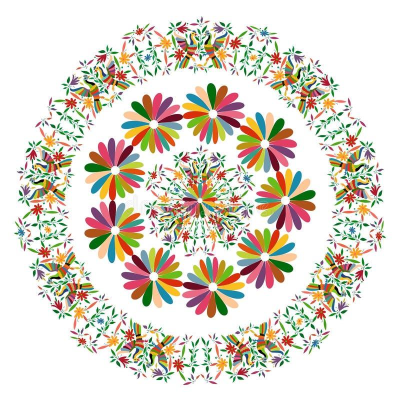 Tapicería mexicana étnica con el bordado floral y los animales de la selva del pavo real hechos a mano Decoraciones populares de  stock de ilustración