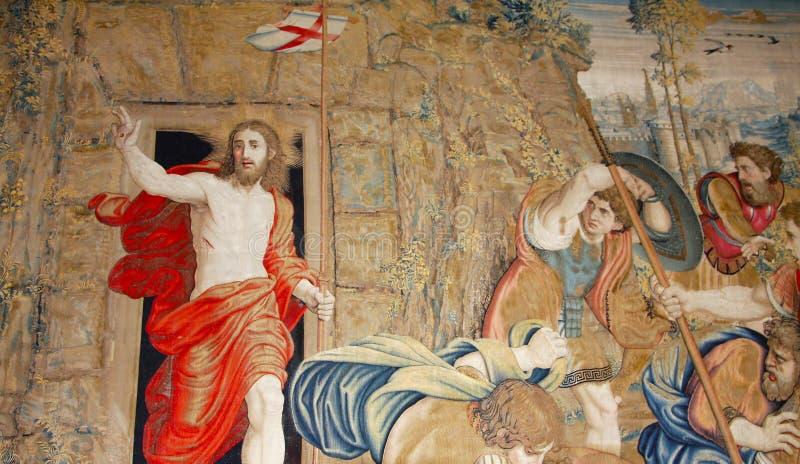 Tapijtwerk met Jesus stock foto