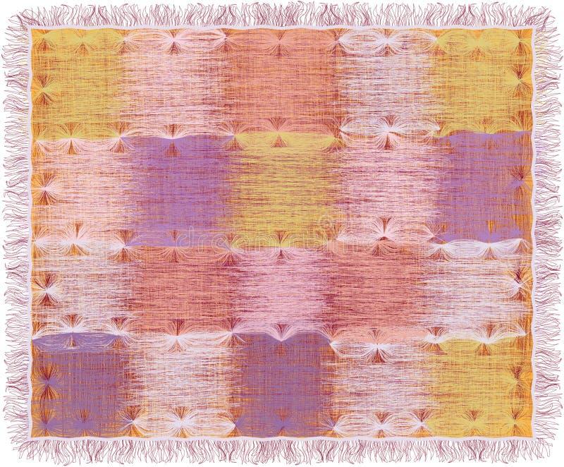 Tapijtwerk met vierkante elementen van het grunge de gestreepte weefsel in pastelkleuren en rand stock illustratie