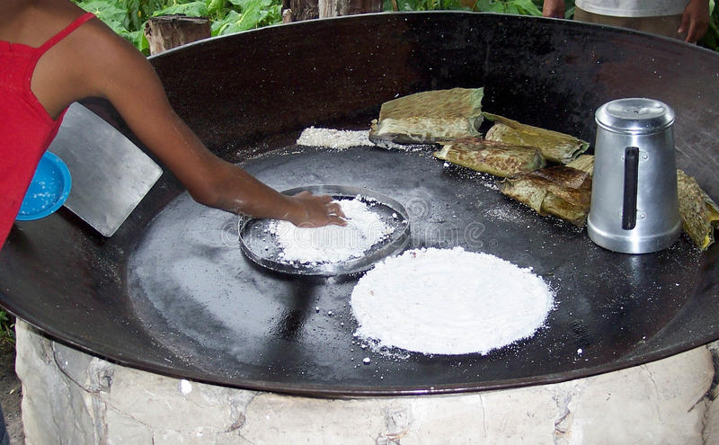 Tapioca. Is cooked in a traditional way in Amazonas, Brazil royalty free stock images