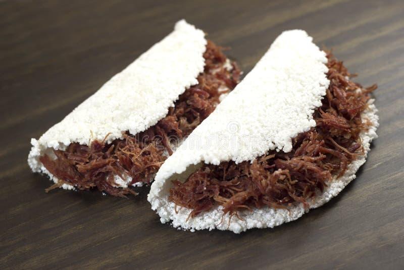 Tapioca de carne. Traditional brazilian food. Tapioca de carne seca stock image