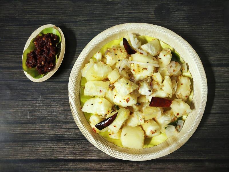 Tapioca met het Voedsel van Chutneykerala, Kappa, Afrika, Traditioneel die India wordt gediend, stock afbeelding