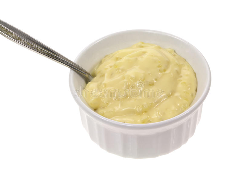 Tapioca pudding with spoon. Close view of tapioca pudding in a small dish with spoon stock photo