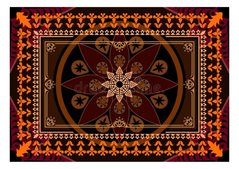 Tapis avec des couleurs brunes et oranges La couverture rectangulaire orientale avec différents modèles et cadres illustration stock
