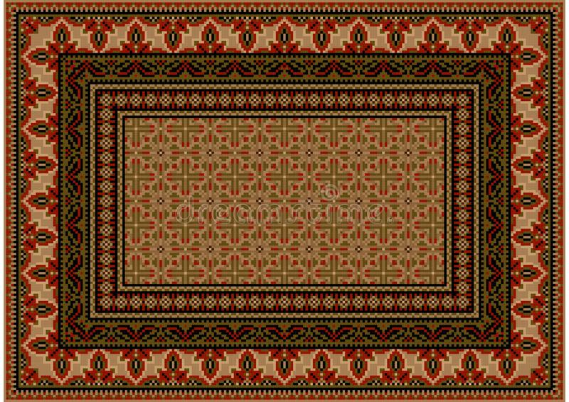 Tapis avec l'ornement ethnique avec les modèles rouges à la frontière aux nuances brun clair illustration libre de droits